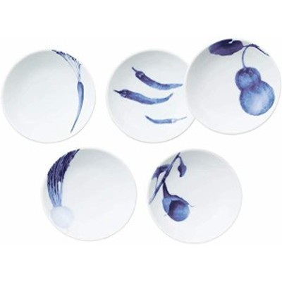 Noritake ノリタケ プレート 絵変り セット 直径約10cm・高さ約2.5cm 京香旬彩 藍 電子レンジ対応 食洗器対応 5枚 絵変り ファインポー