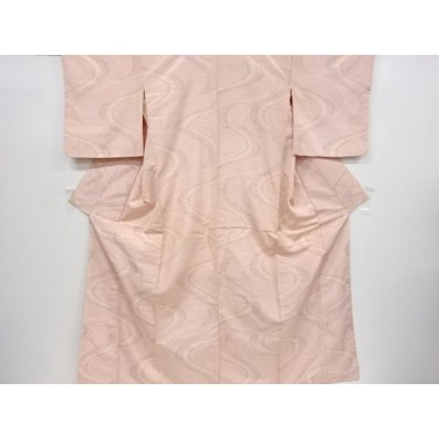 リサイクル 流水に花模様織出手織り節紬着物