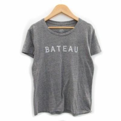 【中古】グリーンレーベルリラクシング Tシャツ カットソー 半袖 ラウンドネック プリント 薄手 グレー レディース