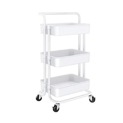 Homemaxs 3 Tier Rolling Utility Cart, Kitchen Cart Storage Shelves with Roller Wheels and Handles, Craft Organizers and Storage Cart for Kit