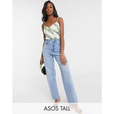 エイソス ASOS Tall レディース ジーンズ・デニム ボトムス・パンツ ASOS DESIGN Tall high rise 'Relaxed' dad jeans in midwash ウォッシュブルー
