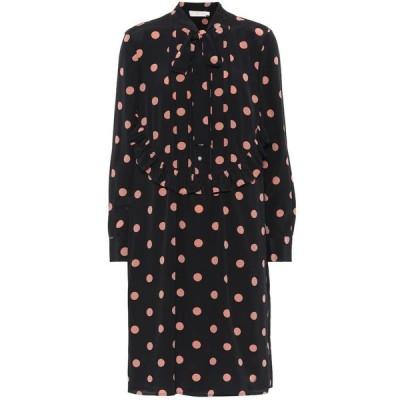 トリー バーチ Tory Burch レディース ワンピース シャツワンピース ワンピース・ドレス polka-dot silk shirt dress Black Lucky Dot