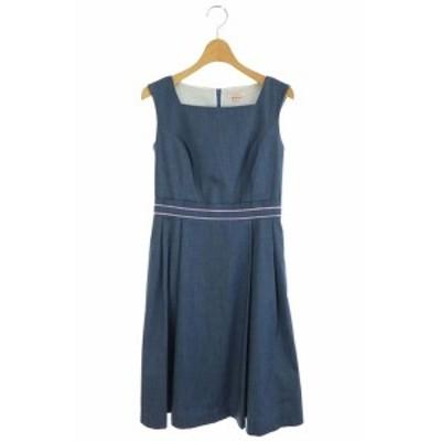 【中古】トッカ TOCCA 18SS DEEP BLUE ドレス ワンピース フレア ひざ丈 ノースリーブ 00P 紺 /KN ■OS レディース