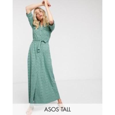 エイソス レディース ワンピース トップス ASOS DESIGN Tall broderie shirt maxi dress in khaki Khaki