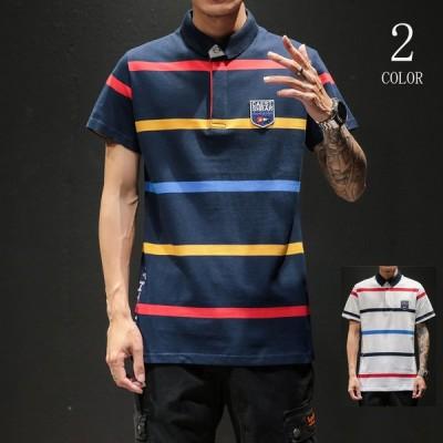 ポロシャツ メンズ 半袖 新品 ボーダー柄 ボタンダウン 半袖tシャツ 配色 ワッペン付き 大きいサイズサイズ カットソートップス 夏物