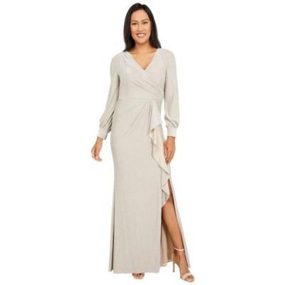 レディース スカート ドレス Long Sleeve Metallic Knit Wrap Front Mermaid Gown