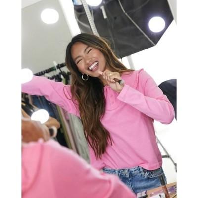 モンキ レディース シャツ トップス Monki Pari organic cotton collared long sleeve top in pink