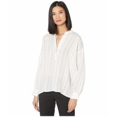 ヴィンス レディース シャツ トップス Drapey Stripe Pullover Shirt Optic White 1