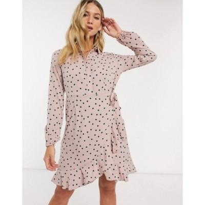 ヴェロモーダ レディース ワンピース トップス Vero Moda shirt dress with wrap detail in pink spot