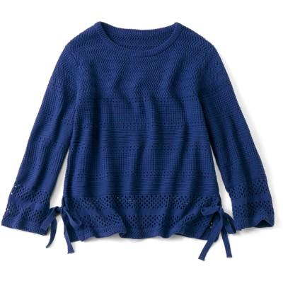 心地よく華やぐ 透かし編みコットンニットトップス〈ネイビーブルー〉 リブ イン コンフォート フェリシモ FELISSIMO