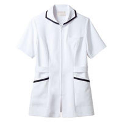 住商モンブラン住商モンブラン ナースジャケット(半袖) 医療白衣 レディス 白/ネイビー M 73-1980(直送品)