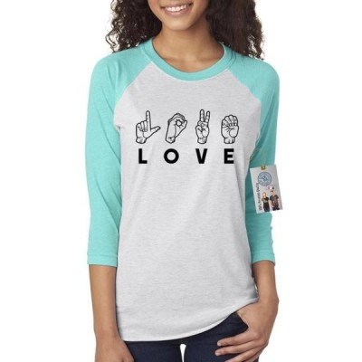 レディース 衣類 トップス Love Sign Language Womens Raglan Shirt Top Tシャツ