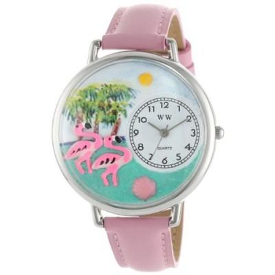 フラミンゴ ピンクレザー シルバーフレーム 時計 #U0150001