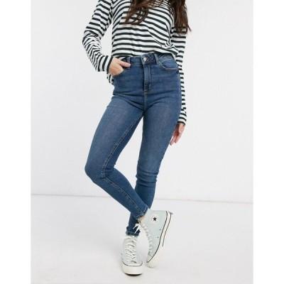 ニュールック レディース デニム ボトムス New Look high waist disco skinny jeans in mid blue Mid blue
