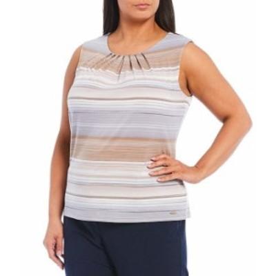 カルバンクライン レディース タンクトップ トップス Plus Size Stripe Print Matte Jersey Pleat Neck Shell Khaki Multi