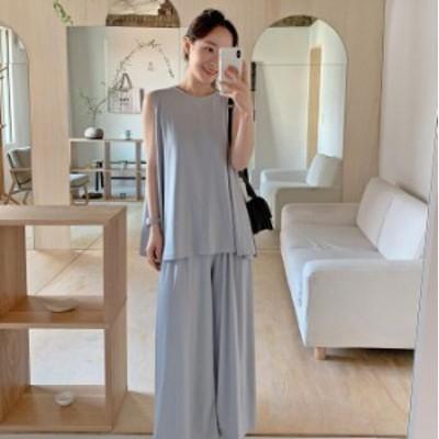 セットアップ 上品 韓国ファッション シルエットパンツ 大きめ レディース ノースリーブ ロング