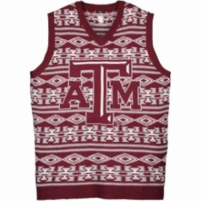 Forever Collectibles フォーエバー コレクティブル 服 スウェット Texas A&M Aggies Maroon Aztec Ugly Sweater Vest