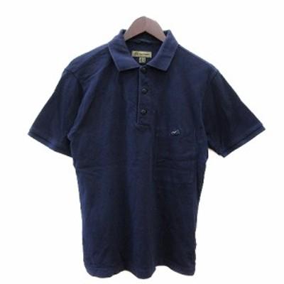 【中古】ナイジェルケーボン NIGEL CABOURN ポロシャツ 鹿の子 リボン 半袖 48 紺 ネイビー /AU メンズ