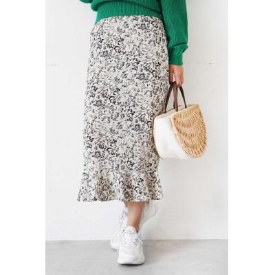 ◆モードフラワー裾フレアIラインスカート ベージュ×フラワー1
