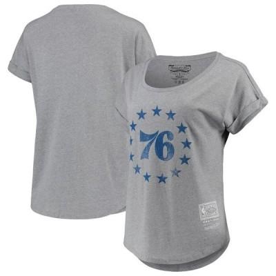 ミッチェル&ネス レディース Tシャツ トップス Philadelphia 76ers Mitchell & Ness Women's Rolled Sleeve Dolman T-Shirt