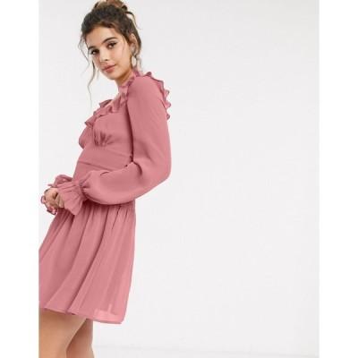 エイソス ミディドレス レディース ASOS DESIGN ruffle neck mini skater dress in tea rose エイソス ASOS