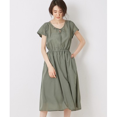 【Green Parks(グリーンパークス)】。ウエストギャザーワンピース (ワンピース)Dress