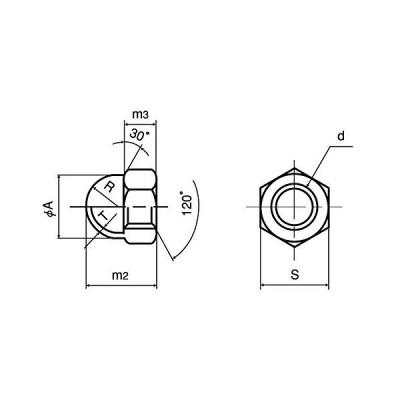 鉄/三価ホワイト 袋ナット M16 (2個)