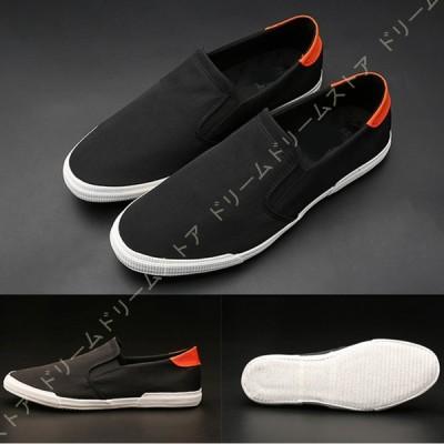 スニーカー スリッポン メンズ 布 靴紐なし 軽量 大きいサイズ 幅広 通勤 通学 カジュアル デッキシューズ ローカット スニーカー メンズ フラット