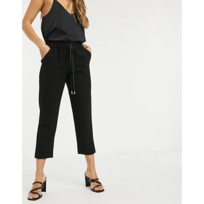 リバーアイランド レディース カジュアルパンツ ボトムス River Island tailored crepe sweatpants in black Black