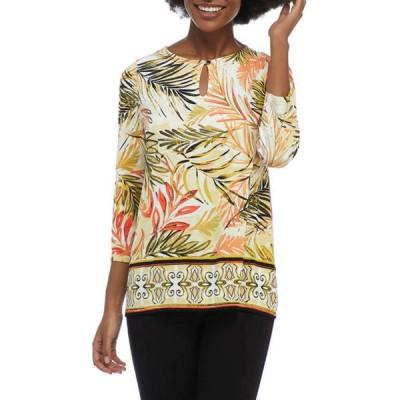 カスパール レディース シャツ トップス Women's 3/4 Sleeve Border Print Knit Top