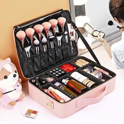 大容量メイクボックス 大容量 コスメボックス プロ用 持ち運び便利 高品質3層化粧箱 化粧ボックス 收納抜群コスメ収納 多機能 旅行用 pink 化粧箱 メイクアップ かわいい 安い 韓国