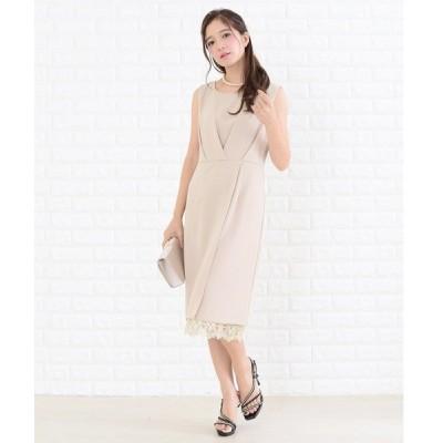 ドレス パール風ベルト付き裾レースワンピース・ドレス