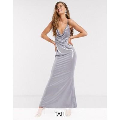 ジョンザック John Zack Tall レディース ワンピース ワンピース・ドレス High Neck Open Back Dress In Silver シルバー