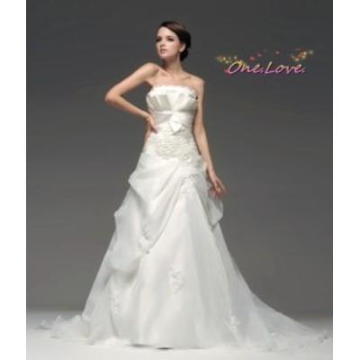 【プレゼント】【即納】ウエディングドレス 編み上げウェディングドレス 二次会ドレス 花嫁ドレス【送料無料】