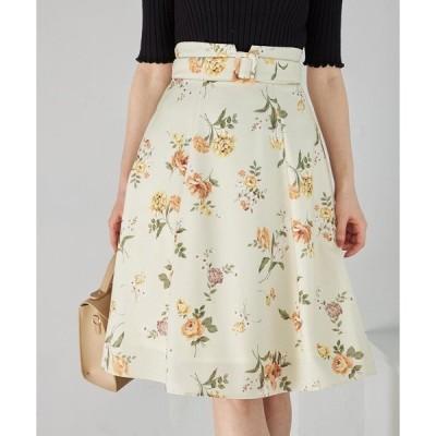スカート ベルト付きフラワープリントフレアスカート