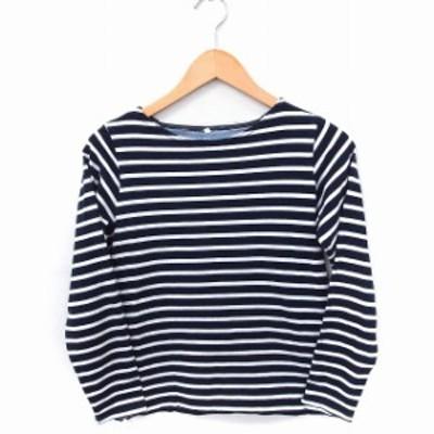 【中古】innocent blue Tシャツ カットソー ボーダー 丸首 長袖 綿 S ネイビー 紺 ホワイト 白 /FT21 レディース