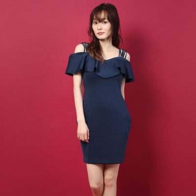 ゲス GUESS EDREA STRAPPY SCUBA FLOUNCE DRESS (DRESS BLUES)