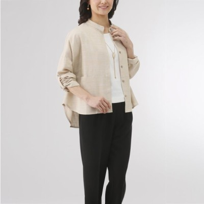 麻混ゆったりシャツジャケット IK-591