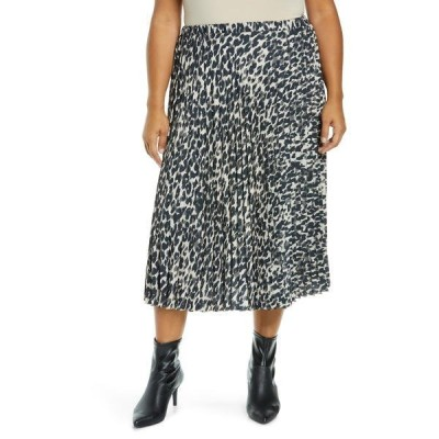 ハロゲン レディース スカート ボトムス Pleated Leopard Print Midi Skirt BEIGE ANIMALIA PRINT