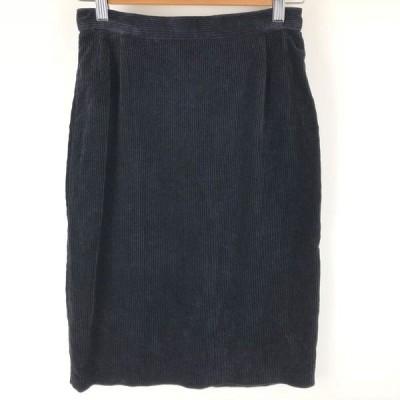 【古着】 コーデュロイスカート ハーフ丈 ブラック系 レディースW26 【中古】 n009960