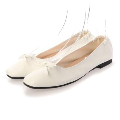 セスト SESTO かかとがゴムでバブーシュのように履けるスクエアトゥバレエシューズパンプス (ホワイト)