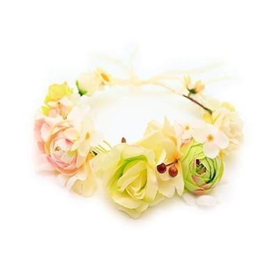 花かんむり 花冠 花かんむり 若草色 ヘッドドレス 髪飾り コサージュ ウエディング ドレス花冠 fhkan052wgn