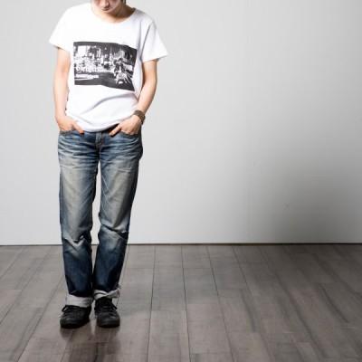 GELATIN(ゼラチン) シルクスクリーン写真プリント レディス ロゴTシャツ 4.7オンス コットン100% VESPA