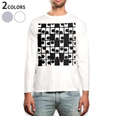 ロングTシャツ メンズ 長袖 ホワイト グレー XS S M L XL 2XL Tシャツ ティーシャツ T shirt long sleeve  黒 白 模様 004475