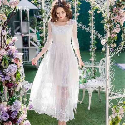 シースルーレースロングドレス(ホワイト)春夏 パーティー 結婚式 二次会 発表会