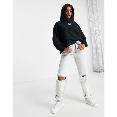プーマ Puma レディース パーカー トップス Classics oversized hoodie in black コットンブラック