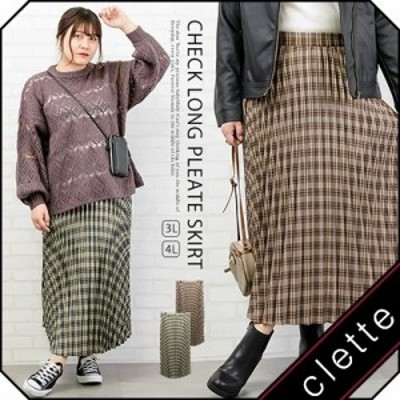 大きいサイズ/レディース/3L/4L/チェック柄ロングプリーツスカート