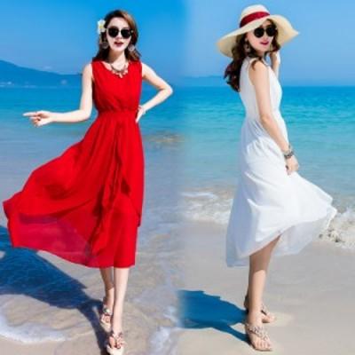 サマードレス ワンピース ノースリーブ シフォン 夏 ビーチ リゾート ミモレ丈 半端丈 綺麗め 安い 可愛い レディース フレア