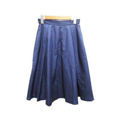 【中古】ノーリーズ Nolley's スカート 膝丈 フレア タック 無地 36 紺 ネイビー レディース 【ベクトル 古着】