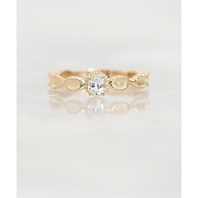 指輪 a Cote◆K10 ホワイトサファイア オーバル リボン マットリング